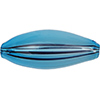 Opaque Aqua, Black Windows Blown Oval 40mm, Murano Glass