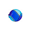 Aqua and Cobalt Mini Blown Penny, 18mm Murano Glass Bead