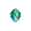 Mini Blown Murano Glass Cippolina Bead, Green & Aqua, 15mm