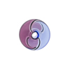 Mini Blown Murano Glass Cippolina Bead, Blue & Purple Spiral, 15mm
