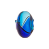 Mini Blown Murano Glass Cippolina Bead, Cobalt & Aqua Bi-Color, 15mm