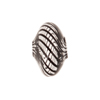 Mini Blown Murano Glass Cippolina Bead, Black & Clear, 15mm