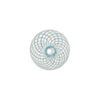 Mini Blown Murano Glass Cippolina Bead, Aqua & White Spiral, 15mm