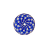 Mini Blown Murano Glass Cippolina Bead, Blue & Aventurina Spiral, 15mm
