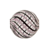 Venetian Mouth Blown Round 20mm Spiral Pink & Black