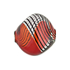 Red with Black Lines Bicolor Blown Pebble, Sasso Murano Glass Bead