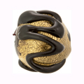 Murano Glass Mouth Blown 30mm Round Ca'd'oro Gold Black