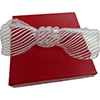 Mouthblown Glass Bow Tie, Borosilicate White Lines Filigrana
