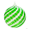 Green and White Filigrana Swirls Murano Glass Christmas Ornament