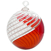 Red and White Filigrana Swirls Murano Glass Christmas Ornament