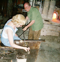 Brenda blowing glass at LaFenice Murano