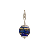 Cobalt with Exterior Gold Foil Murano Glass Bead Silver Charm andTrigger Clasp