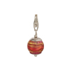 Rubino with Exterior Gold Foil Murano Glass Bead Silver Charm andTrigger Clasp