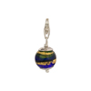 Green and Cobalt Exterior Gold Foil Murano Glass Bead Silver Charm with Trigger Clasp