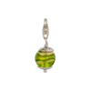 Greens with Exterior Gold Foil Murano Glass Bead Silver Charm with Trigger Clasp