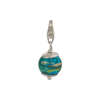 Aqua and Exterior Gold Foil Murano Glass Bead Silver Charm with Trigger Clasp