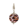 Sparkle Pink Leopard Murano Glass Bead Silver Charm with Trigger Clasp