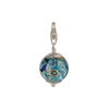 Aqua Mosaic Murano Glass Bead Silver Charm with Trigger Clasp