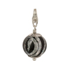 Black and Silver Zebra Murano Glass Bead Silver Charm with Trigger Clasp