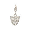 Venetian Comedy Mask Sterling Silver Charm with Trigger Clasp