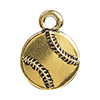 TierraCast Baseball Charm, Antique Gold Plated Pewter