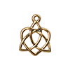 TierraCast Celtic Open Heart Charm, Antique Gold Plated Pewter