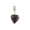 Black with Pink Dichroic Murano Glass Heart Sterling Silver Charm
