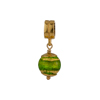 PerlaVita Green, Emerald and Exterior Gold Foil Murano Glass Bead Charm, Vermeil