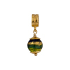 PerlaVita Green, Cobalt and Exterior Gold Foil Murano Glass Bead Charm, Vermeil