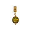 PerlaVita Green, Amethyst and Exterior Gold Foil Murano Glass Bead Charm, Vermeil