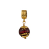 PerlaVita Red and Exterior Gold Foil Murano Glass Bead Charm, Vermeil