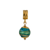 PerlaVita Acqua and Exterior Gold Foil Murano Glass Bead Charm, Vermeil
