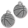 Basketball Charm, Antique Fine Silver Plated Pewter