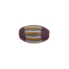 Red with Aqua and Yellow Stripes Murano Glass Chevron Bead Oval, 20mm