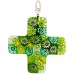 Venetian Glass Greek Cross 30x30 Pendant Green Flowers