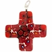 Venetian Glass Greek Cross 30x30 Pendant Red