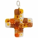Venetian Glass Greek Cross 30x30 Pendant Topaz Flowers