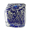 Cobalt Blue White Gold Foil Ca'd'Oro Cube 10mm Murano Glass Bead