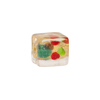 Gold Foil Multi-Colored Cluseau Murano Glass Bead, Cube, 10x12mm