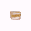 Murano Glass Bead Gold Foil Cube 10x12mm, Pink