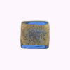 Murano Glass Bead Gold Foil Cube 14mm Bue