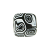 Mosaic Patterned Murano Glass Bead, 16mm Cube, Black and White