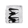 Black & Silver Foil ZigZag Cube 12mm Murano Glass