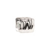 Black and Silver Foil ZigZag Cube 10x12mm Murano Glass Bead