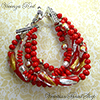 Red Gold and Silver 5 Strand Bracelet