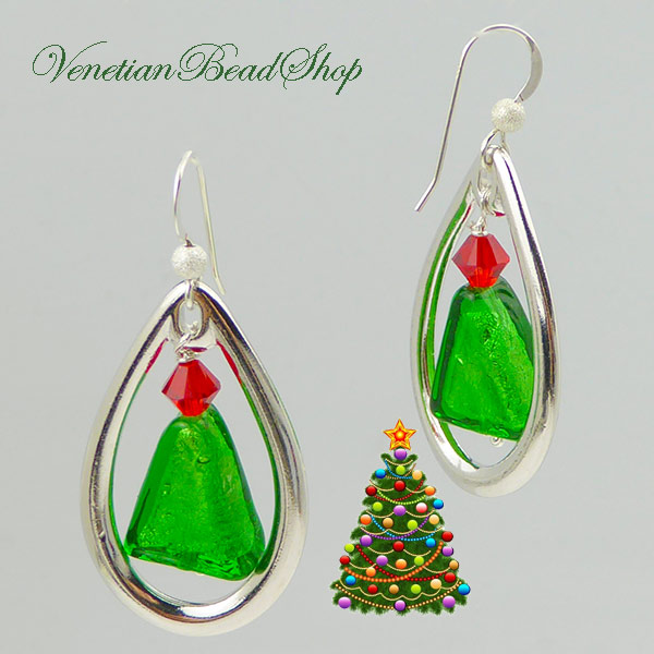Green Tree Holiday Earrings