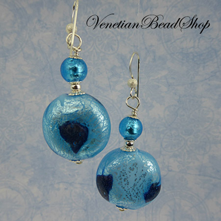 Aqua and Blue Aventurina Mouth Blown Earrings - Free Design Instruction