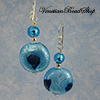 Aqua & Blue Aventurina Blown Bead Earrings