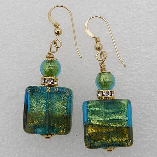 Aqua and Steel Earrings Design