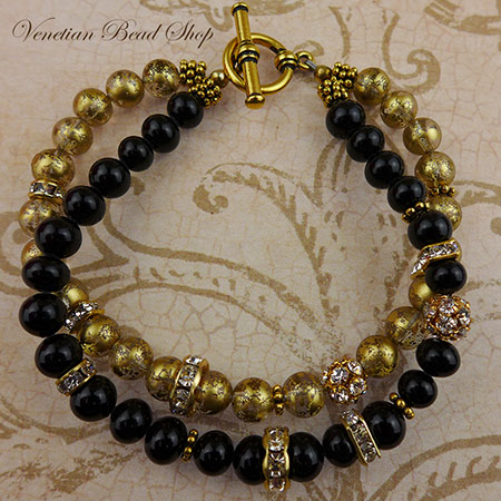 Free Design 2 Strand Black and Gold Bracelet